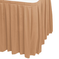Snap Drape WYN3V1329-SNDL Wyndham 13' x 29 inch Sandalwood Box Pleat Table Skirt with Velcro® Clips