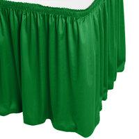 Snap Drape WYN1V17629-KG Wyndham 17' 6 inch x 29 inch Kelly Green Shirred Pleat Table Skirt with Velcro® Clips