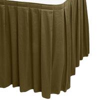 Snap Drape WYN3V1329-OLV Wyndham 13' x 29 inch Olive Box Pleat Table Skirt with Velcro® Clips