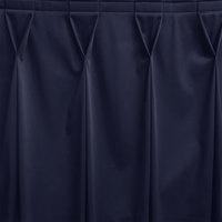 Snap Drape WYN6V1329-NAVY Wyndham 13' x 29 inch Navy Bow Tie Pleat Table Skirt with Velcro® Clips