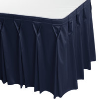 Snap Drape WYN6V1329-NAVY Wyndham 13' x 29 inch Navy Bow Tie Pleat Table Skirt with Velcro® Clips