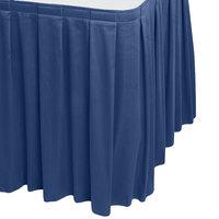 Snap Drape WYN3V1329-DBLU Wyndham 13' x 29 inch Dark Blue Box Pleat Table Skirt with Velcro® Clips