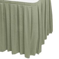 Snap Drape WYN3V1329-EUC Wyndham 13' x 29 inch Eucalyptus Box Pleat Table Skirt with Velcro® Clips