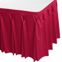 Snap Drape WYN6V1329-RASP Wyndham 13' x 29 inch Raspberry Bow Tie Pleat Table Skirt with Velcro® Clips