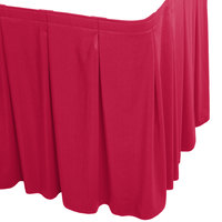 Snap Drape WYN5V1329-RASP Wyndham 13' x 29 inch Raspberry Continuous Pleat Table Skirt with Velcro® Clips