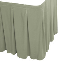 Snap Drape WYN5V1329-EUC Wyndham 13' x 29 inch Eucalyptus Continuous Pleat Table Skirt with Velcro® Clips