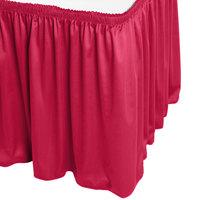 Snap Drape WYN1V17629-RASP Wyndham 17' 6 inch x 29 inch Raspberry Shirred Pleat Table Skirt with Velcro® Clips
