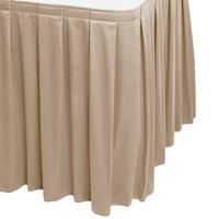 Snap Drape WYN3V1329-BG Wyndham 13' x 29 inch Beige Box Pleat Table Skirt with Velcro® Clips