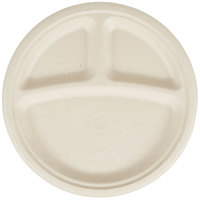 Eco Products EP-PW103 10 inch Round Wheat Straw Compostable 3-Compartment Plate - 50/Pack