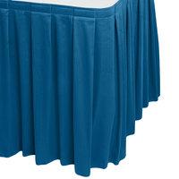 Snap Drape WYN3V1329-BLUE Wyndham 13' x 29 inch Blueberry Box Pleat Table Skirt with Velcro® Clips