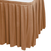 Snap Drape 5412CE29B3-712 Wyndham 13' x 29 inch Butterscotch Box Pleat Table Skirt with Velcro® Clips