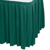 Snap Drape WYN3V1329-TEAL Wyndham 13' x 29 inch Teal Box Pleat Table Skirt with Velcro® Clips