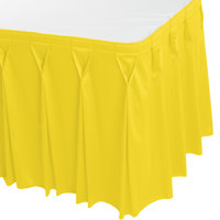 Snap Drape WYN6V1329-SUN Wyndham 13' x 29 inch Sunflower Bow Tie Pleat Table Skirt with Velcro® Clips