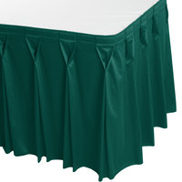 Snap Drape WYN6V1329-TEAL Wyndham 13' x 29 inch Teal Bow Tie Pleat Table Skirt with Velcro® Clips