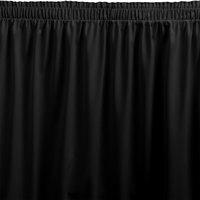Snap Drape WYN1V17629-BLK Wyndham 17' 6 inch x 29 inch Black Shirred Pleat Table Skirt with Velcro® Clips