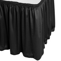 Snap Drape WYN1V17629-BLK Wyndham 17' 6 inch x 29 inch Black Shirred Pleat Table Skirt with Velcro® Clips