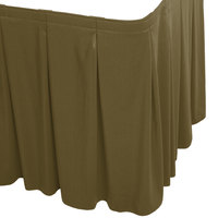Snap Drape WYN5V1329-OLV Wyndham 13' x 29 inch Olive Continuous Pleat Table Skirt with Velcro® Clips