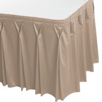 Snap Drape 5412CE29W3-046 Wyndham 13' x 29 inch Beige Bow Tie Pleat Table Skirt with Velcro® Clips