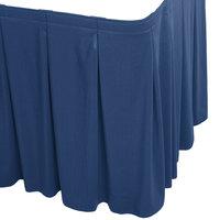 Snap Drape WYN5V1329-DBLU Wyndham 13' x 29 inch Dark Blue Continuous Pleat Table Skirt with Velcro® Clips