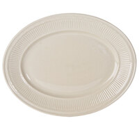 12 inch x 9 3/8 inch Ivory (American White) Embossed Rim Oval China Platter   - 12/Case