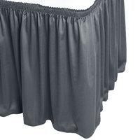 Snap Drape WYN1V17629-SLTB Wyndham 17' 6 inch x 29 inch Slate Blue Shirred Pleat Table Skirt with Velcro® Clips