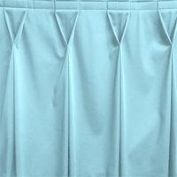 Snap Drape WYN6V1329-LBLU Wyndham 13' x 29 inch Light Blue Bow Tie Pleat Table Skirt with Velcro® Clips
