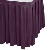 Snap Drape WYN3V1329-PURP Wyndham 13' x 29 inch Purple Box Pleat Table Skirt with Velcro® Clips