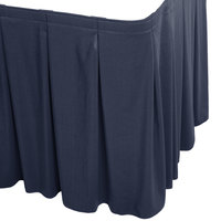 Snap Drape WYN5V1329-NAVY Wyndham 13' x 29 inch Navy Continuous Pleat Table Skirt with Velcro® Clips