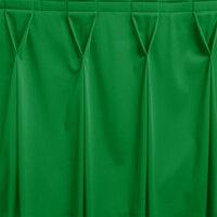 Snap Drape WYN6V1329-KG Wyndham 13' x 29 inch Kelly Green Bow Tie Pleat Table Skirt with Velcro® Clips