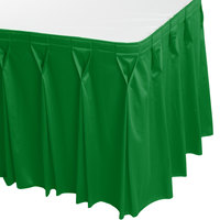 Snap Drape WYN6V1329-KG Wyndham 13' x 29 inch Kelly Green Bow Tie Pleat Table Skirt with Velcro® Clips