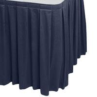 Snap Drape WYN3V1329-NAVY Wyndham 13' x 29 inch Navy Box Pleat Table Skirt with Velcro® Clips