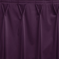 Snap Drape WYN6V1329-PURP Wyndham 13' x 29 inch Purple Bow Tie Pleat Table Skirt with Velcro® Clips