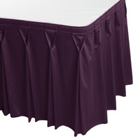 Snap Drape WYN6V1329-PURP Wyndham 13' x 29 inch Purple Bow Tie Pleat Table Skirt with Velcro® Clips