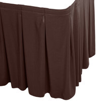 Snap Drape WYN5V1329-BRN Wyndham 13' x 29 inch Brown Continuous Pleat Table Skirt with Velcro® Clips