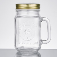 Core 16 oz. County Fair Mason Jar / Drinking Jar with Handle and Gold Metal Lid   - 12/Case