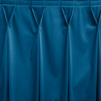 Snap Drape WYN6V1329-BLUE Wyndham 13' x 29 inch Blueberry Bow Tie Pleat Table Skirt with Velcro® Clips