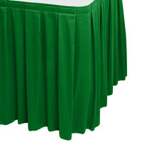 Snap Drape 5412CE29B3-064 Wyndham 13' x 29 inch Kelly Green Box Pleat Table Skirt with Velcro® Clips