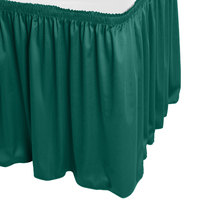 Snap Drape WYN1V1329-TEAL Wyndham 13' x 29 inch Teal Shirred Pleat Table Skirt with Velcro® Clips