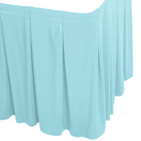 Snap Drape WYN5V1329-LBLU Wyndham 13' x 29 inch Light Blue Continuous Pleat Table Skirt with Velcro® Clips
