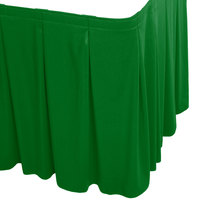 Snap Drape WYN5V1329-KG Wyndham 13' x 29 inch Kelly Green Continuous Pleat Table Skirt with Velcro® Clips