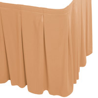 Snap Drape WYN5V1329-SNDL Wyndham 13' x 29 inch Sandalwood Continuous Pleat Table Skirt with Velcro® Clips