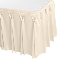 Snap Drape WYN6V1329-CRM Wyndham 13' x 29 inch Cream Bow Tie Pleat Table Skirt with Velcro® Clips