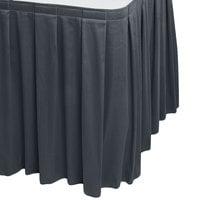 Snap Drape WYN3V1329-SLTB Wyndham 13' x 29 inch Slate Blue Box Pleat Table Skirt with Velcro® Clips