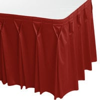 Snap Drape WYN6V1329-TERA Wyndham 13' x 29 inch Terra Cotta Bow Tie Pleat Table Skirt with Velcro® Clips