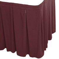 Snap Drape WYN5V1329-PLUM Wyndham 13' x 29 inch Plum Continuous Pleat Table Skirt with Velcro® Clips