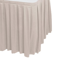 Snap Drape WYN3V1329-SC Wyndham 13' x 29 inch Silver Cloud Box Pleat Table Skirt with Velcro® Clips