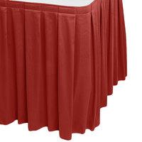 Snap Drape WYN3V1329-TERA Wyndham 13' x 29 inch Terra Cotta Box Pleat Table Skirt with Velcro® Clips