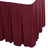 Snap Drape WYN5V1329-BURG Wyndham 13' x 29 inch Burgundy Continuous Pleat Table Skirt with Velcro® Clips