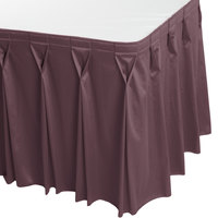 Snap Drape 5412EG29W3-753 Wyndham 17' 6 inch x 29 inch Violet Bow Tie Pleat Table Skirt with Velcro® Clips