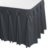 Snap Drape 5412EG29W3-583 Wyndham 17' 6 inch x 29 inch Slate Blue Bow Tie Pleat Table Skirt with Velcro® Clips
